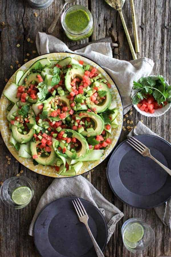 Avocado Avenger Salad recipe    This dreamy summer salad is from @theblendergirl 's latest cookbook The Perfect Blend! It's everything we love about summer on one platter.    @thismessisours #glutenfree #vegan