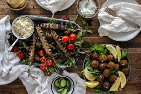Rosemary Lamb Kofta and Falafel Feast