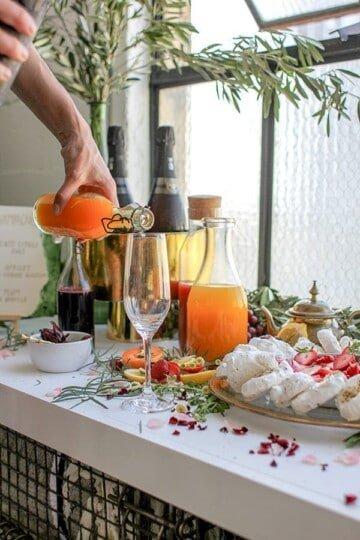 apricot orange blossom fruit syrup for mimosas, fresh pressed juice, champagne