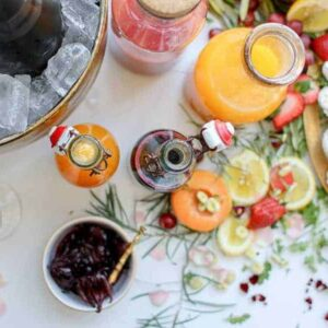 fresh fruit syrups, fresh pressed juices, hibiscus flowers