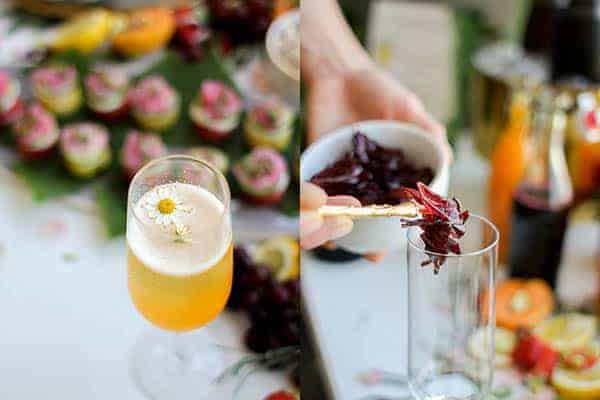 How to Build the Ultimate Champagne Bar for Summer || edible flower garnishes || @thismessisours #glutenfree #vegan #DIY