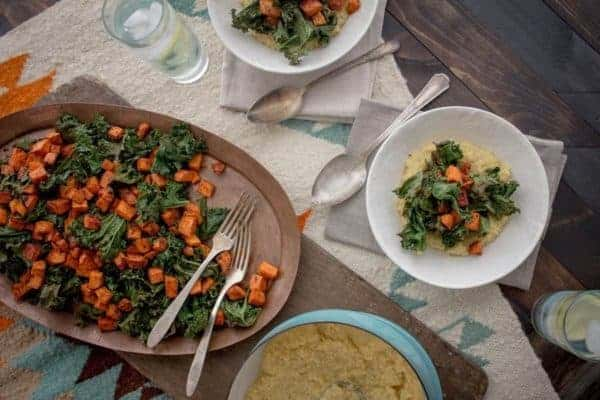 Oven Roasted Kale and Sweet Potato with Creamy Polenta recipe || @thismessisours