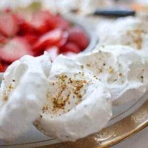 Individual Pistachio Pavlovas recipe || These elegant pistachio pavlovas are perfect for summertime entertaining. || @thismessisours #glutenfree #vegetarian #FriendsWhoFete