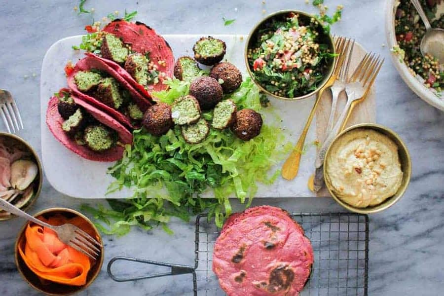 Perfectly Pink Tortillas stuffed with falafel and veg
