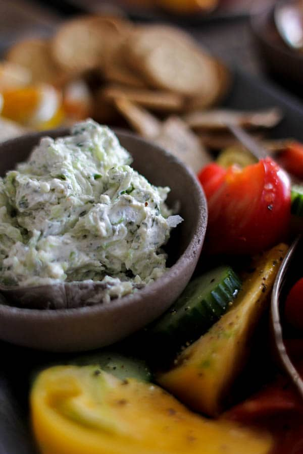 Southern Picnic Platter recipe ||Benedictine spread is a staple at the Derby in Kentucky, but I think this creamy cucumber and goat cheese laced dip should be on hand all summer long! || @thismessisours