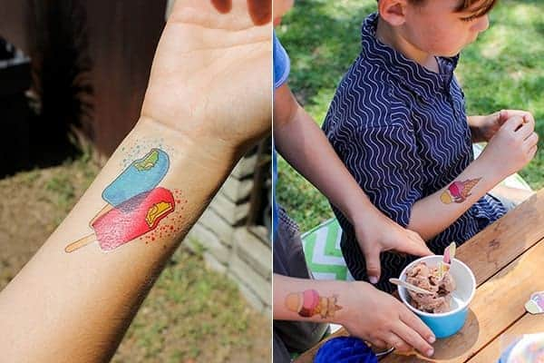 How to Host an Ice Cream Social || What kid doesn't love a temporary tattoo? We created our own ice cream inspired tattoos for the party and the kids went nuts for them! Download the pdf to make your own! || @thismessisours #FriendsWhoFete