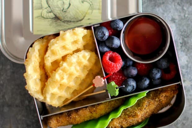 Chicken & Waffle Lunch Box recipe    with gluten free options.    @thismessisours #lunchbox
