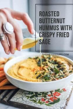 butternut squash hummus with crispy fried sage., pepitas, smoked paprika, carrots, Brazilian bites