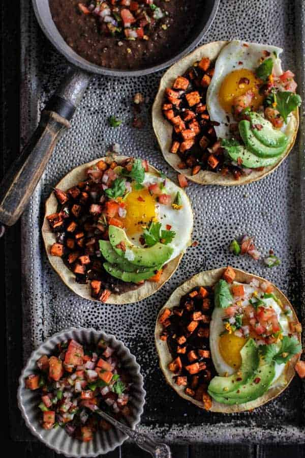 Crave-Worthy Breakfast Tostadas recipe || You are only a few pantry staples and less than a half hour away from one of the best breakfasts you have ever eaten! || @thismessisours #vegetarian #glutenfree #ad