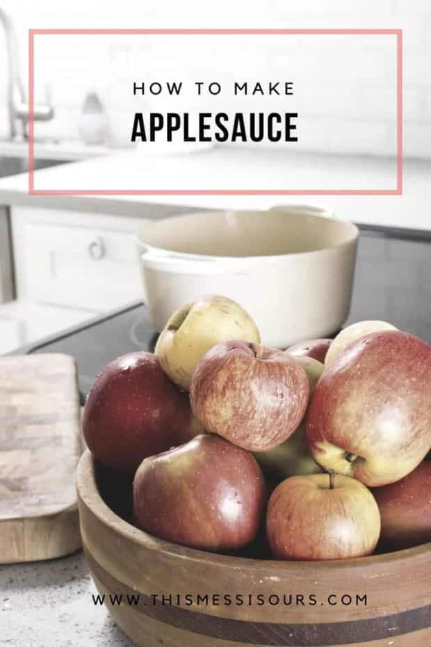 How To Make Applesauce tutorial || This easy video + picture tutorial will have you making homemade applesauce in no time! Plus, our cider spice apple sauce recipe is 1000 times better than anything you can buy at the store!|| @thismessisours #vegan #DIY #tutorial #howto