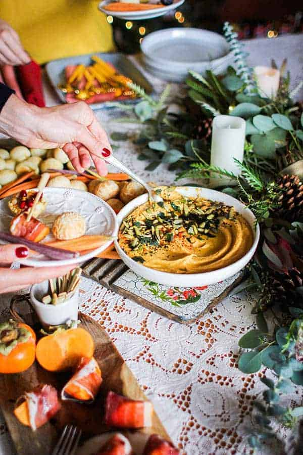 Roasted Butternut Hummus with Crispy Fried Sage recipe || Perfect for fall snacking or easy entertaining this hummus comes together with a handful of fall pantry staples and is sure to be a hit. || @thismessisours @friendswhofete #friendswhofete #vegan #glutenfree