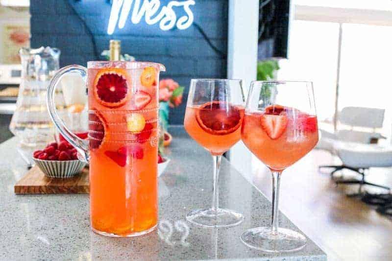 Blood Orange Ginger Sangria pitcher and glasses