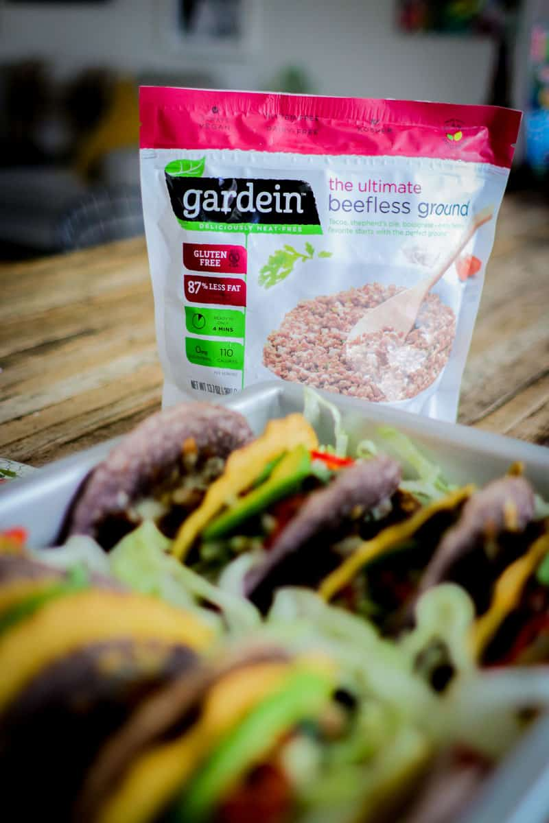 Gardein ultimate beetles ground packaging with a pan full of tacos