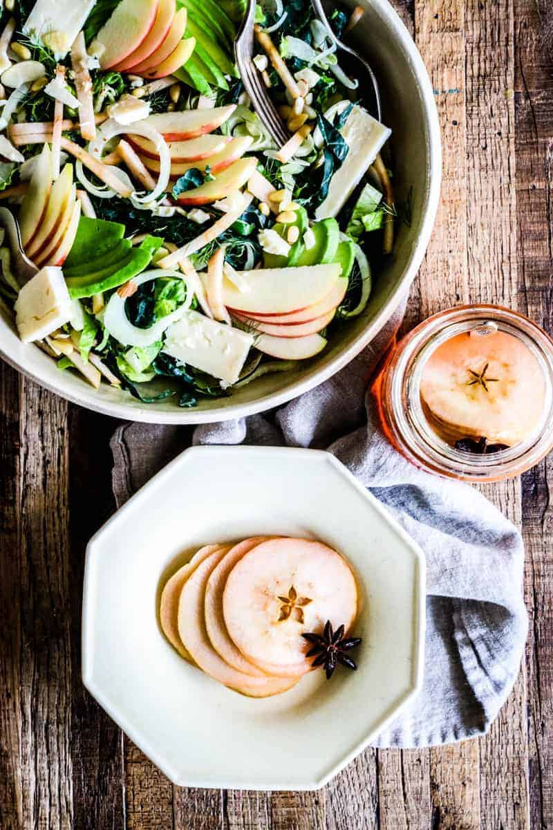 quick pickled apple slices and salad