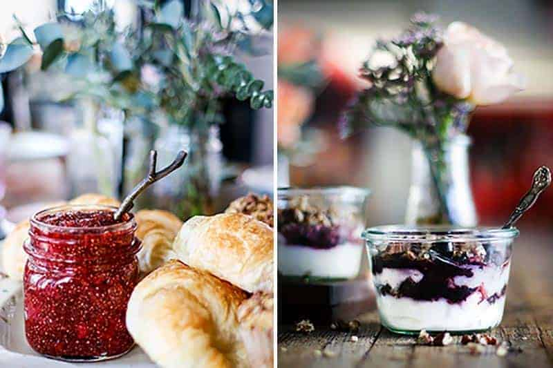 Strawberry Lime Chia Jam with croissants, and Balsamic Blueberry Breakfast Parfaits