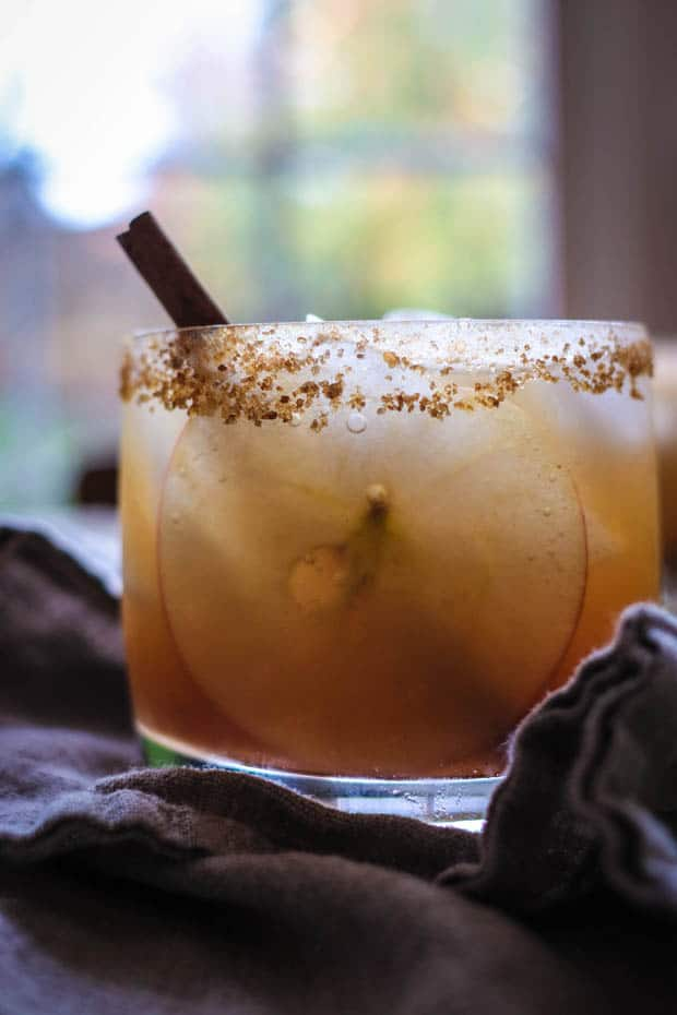 A cocktail glass filled with a gold colored cocktail, a very tin apple slice, and a cinnamon stick is sitting in front of a window that has trees with fall foliage outside of it. The glass has a brown sugar and cinnamon rim.