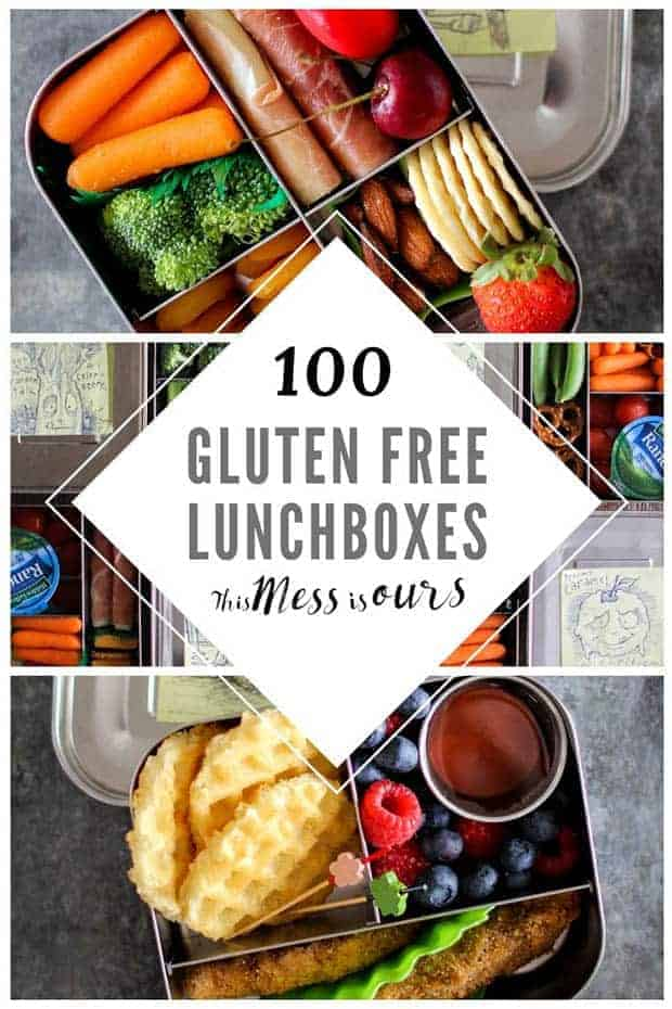 "A graphic with 3 images of colorful beto boxes. The text reads ""100 Gluten Free Lunchboxes by This Mess is Ours"""