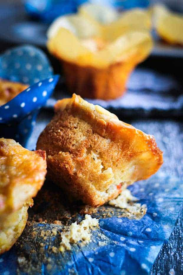 Piment oCheese Muffins on a table