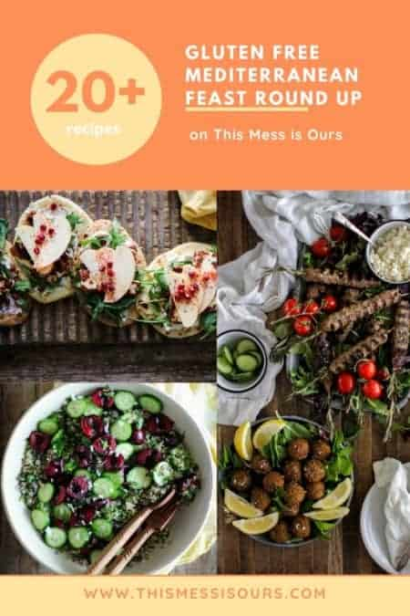 a graphic showing images of hummus, flatbreads, kofta, and falafel for a Gluten Free Mediterranean Feast Round Up with over 20 recipes
