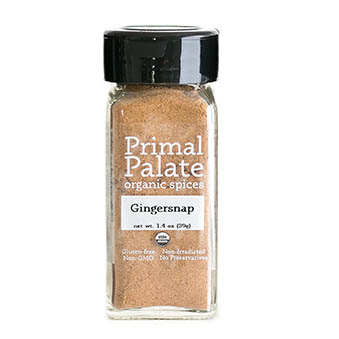 A bottle of Primal Palate Gingersnap Seasoning