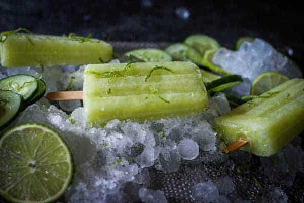 Cucumber Limeade Popsicles on a bed of ice