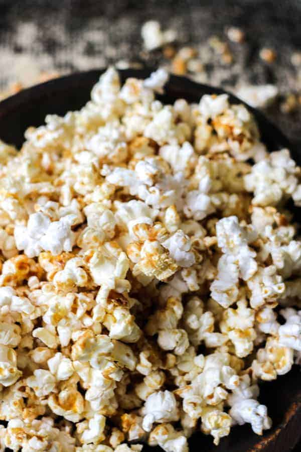 A close up of a bowl of DIY Microwave Kettle Corn