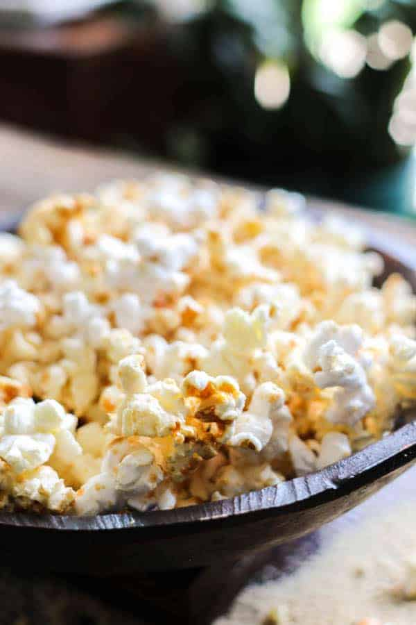 A bowl of DIY Microwave Kettle Corn on a table