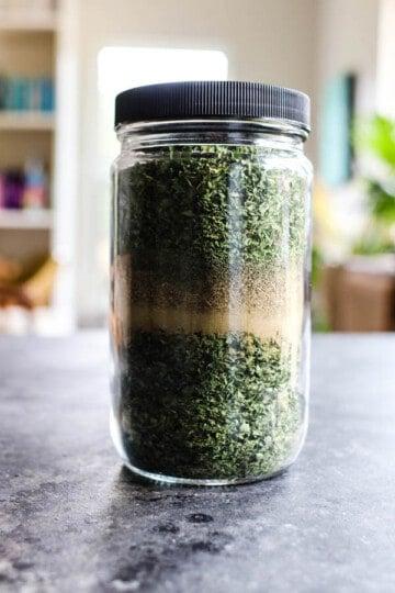 a jar of Homemade Dog Food Seasoning Blend
