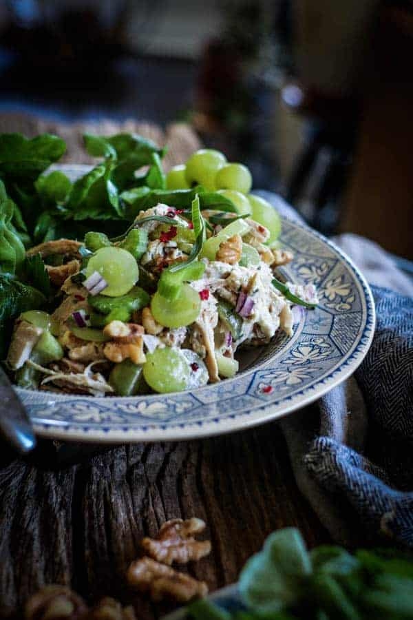 A plate piled high with Easy Rotisserie Chicken Salad