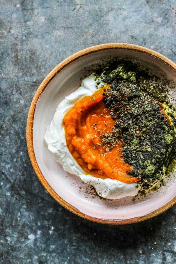 A close up of Pumpkin and Yogurt Bowl for Dogs