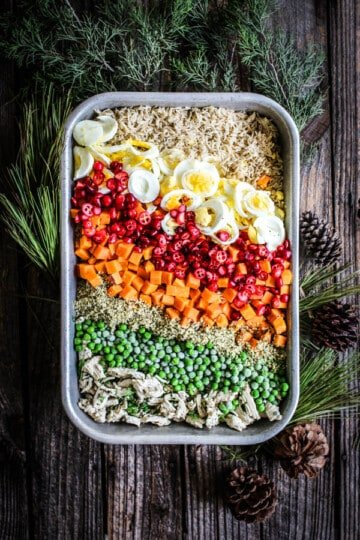 A big pan of home made dog food. This recipe has brown rice, hard boiled eggs, fresh sliced cranberries, boiled sweet potatoes, green peas, ground turkey, fresh herbs, and hemp hearts