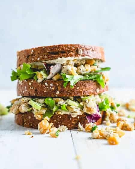 2 Chickpea Salad Sandwiches stacked on top of each other