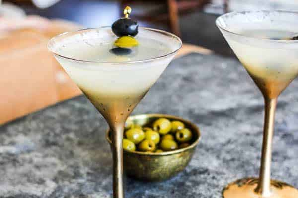 Two Classic Vodka Martini in clear and gold ombre martini glasses