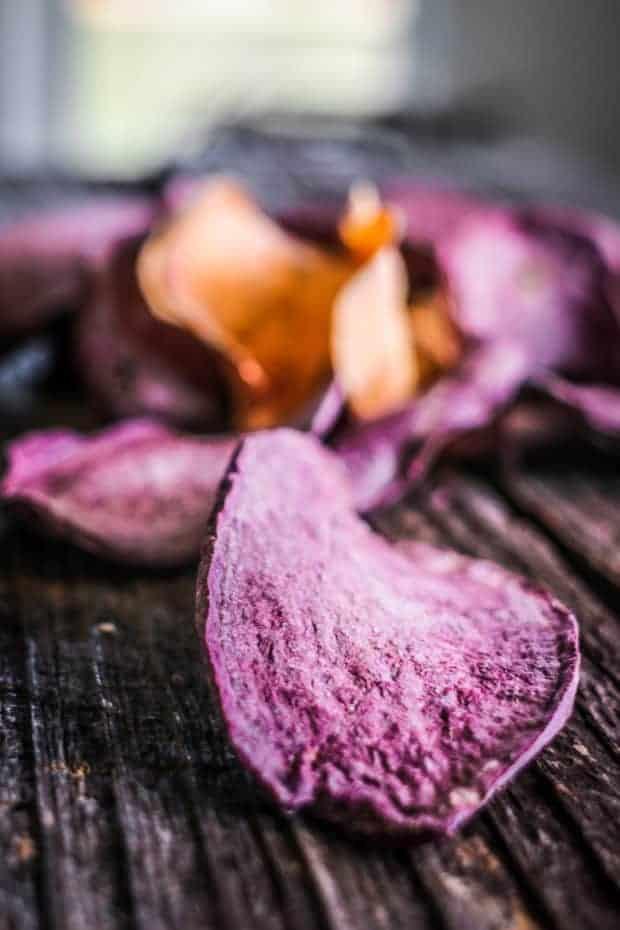An upclose image of a purple sweet potato dehydrated dog treat