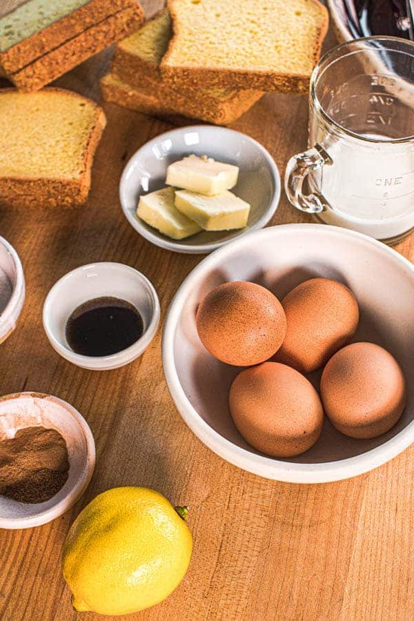 The ingredients needed to make the Perfect Recipe For French Toast