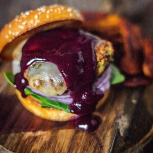 A juicy turkey burger smothered in Blueberry Jalapeño BBQ sauce