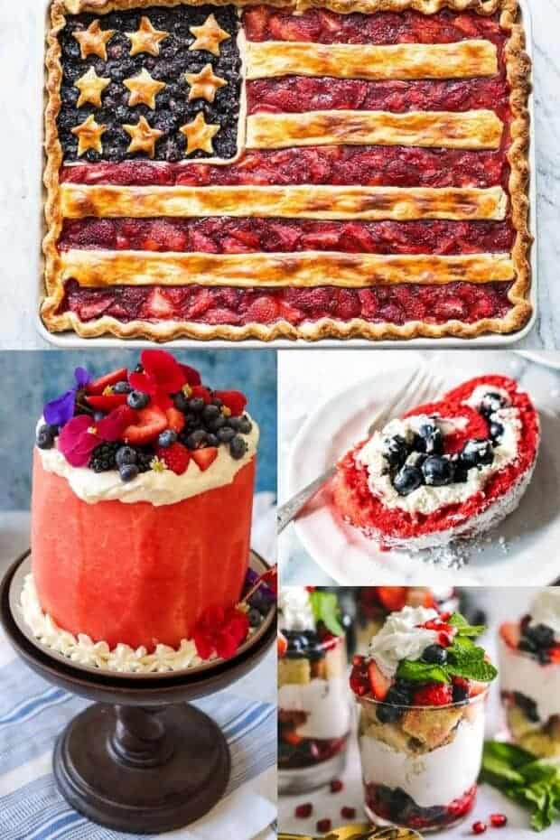 A collage of 4 different red, white, and blue dessert recipes.
