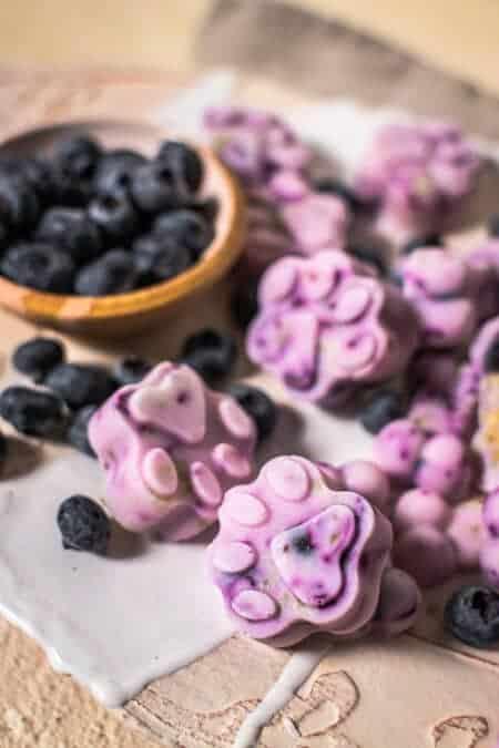 Purple tinted frozen dog treats made of blueberries and Greek yogurt.