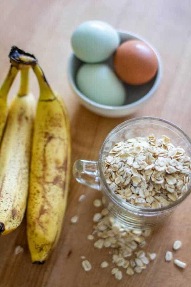Ripe bananas, oats, and eggs