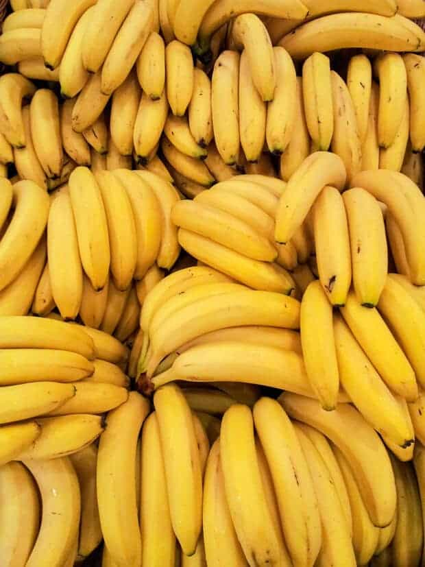 Bunches of fresh bananas.