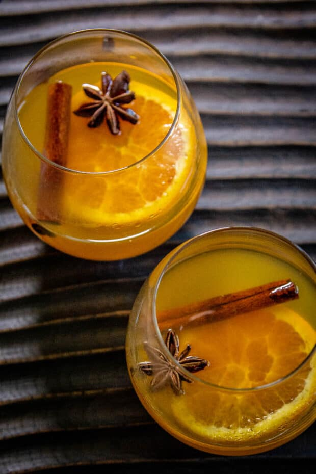 Two glass of pumpkin spice mulled wine