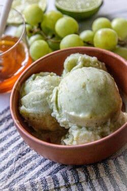 A close up of green grape nice cream