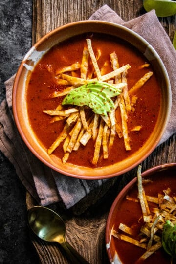 Top down view of Smoky Tomato Instant Pot Tortilla Soup recipe